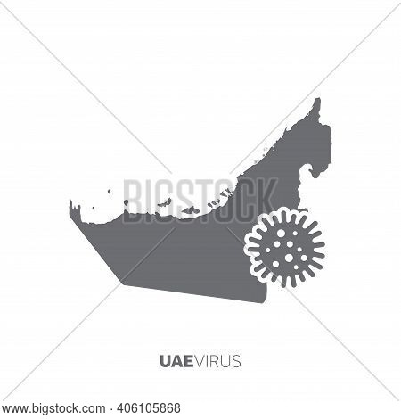 Uae Map With A Virus Microbe. Illness And Disease Outbreak