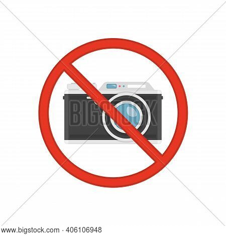 No Photography, Camera Prohibited Symbol. No Photo Icon. Red Prohibition Sign With Camera Isolated O