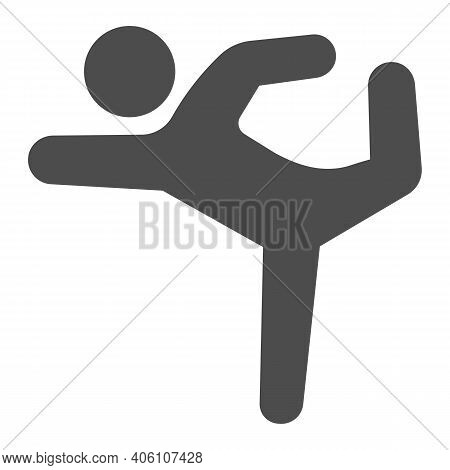 Gymnast Solid Icon, Diet Concept, Athletic Person Sign On White Background, Gymnast Silhouette In Ex