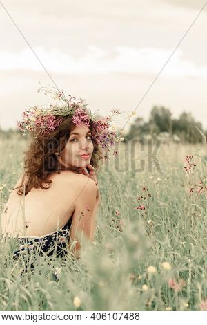 Authentic people portrait. Candid portrait. Self care authentic woman. Beauty girl in summertime.