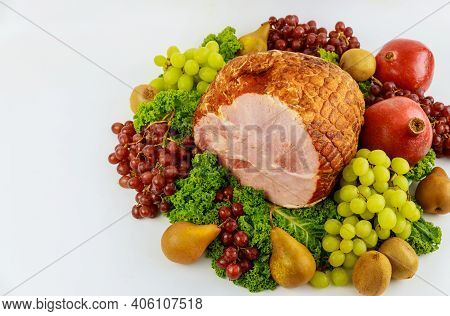 Boneless Whole Pork Ham With Fresh Fruits. Healthy Food. Easter Meal.