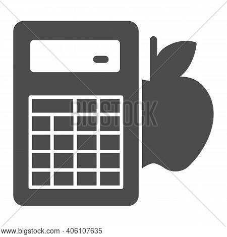Calculator And Apple Solid Icon, Diet Concept, Counting Calories Sign On White Background, Calorie C