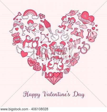 Valentine's Day Greeting Card With Doodle Icons And Text