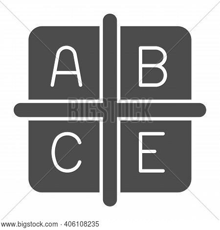 A B C E Vitamins Solid Icon, Diet Concept, Four Groups Of Vitamins Sign On White Background, Cubes W