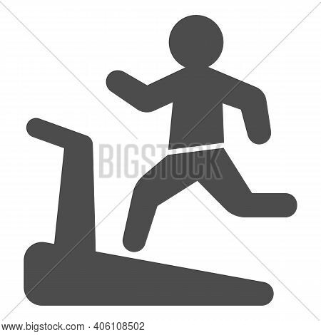 Man On Treadmill Solid Icon, Diet Concept, Exercise Machine Sign On White Background, Man Running On