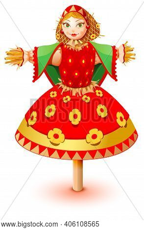 Russian Straw Effigy Woman In Traditional Dress. Maslenitsa Russian Pancake Week Shrovetide Carnival