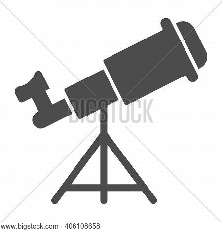 Telescope Solid Icon, Startup Concept, Monocular Sign On White Background, Spyglass Icon In Glyph St