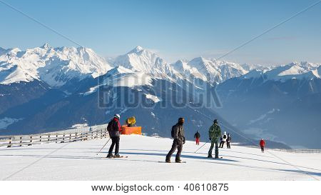 Skiers Enjoy Fantastic Alpine Panorama