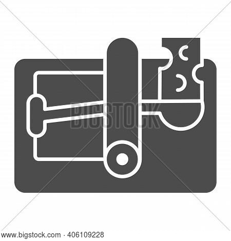 Mousetrap With Cheese Solid Icon, Pest Control Concept, Mouse Trap Sign On White Background, Rodents