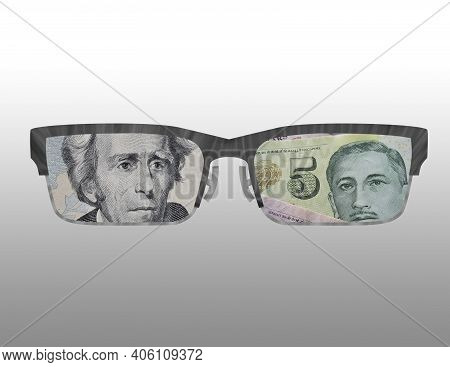 Illustration Of The Outline Of Some Glasses With The Image Of American And Singaporean Money On Them