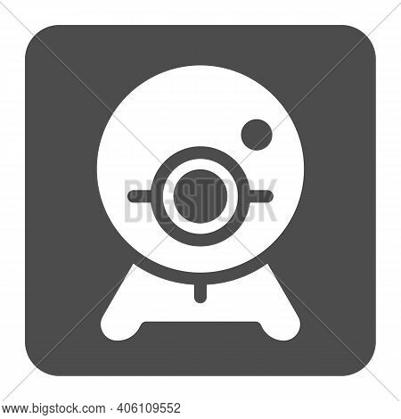 Webcam Solid Icon, Online Education Concept, Chat Camera Sign On White Background, Webcam For Videoc