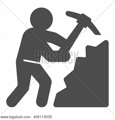 Miner With Pickaxe Solid Icon, Labour Day Concept, Pile Of Coal And Man With Pickaxe Sign On White B