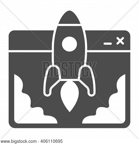 Website And Rocket Launch Solid Icon, Startup Concept, Site Launch Sign On White Background, Rocket