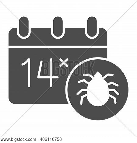 Calendar And Parasite Insect Solid Icon, Pest Control Concept, World Pest Control Awareness Day Sign