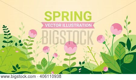 Beautiful Landscape With Flowers And Leaves Floral Spring Poster Horizontal Greeting Card Vector Ill