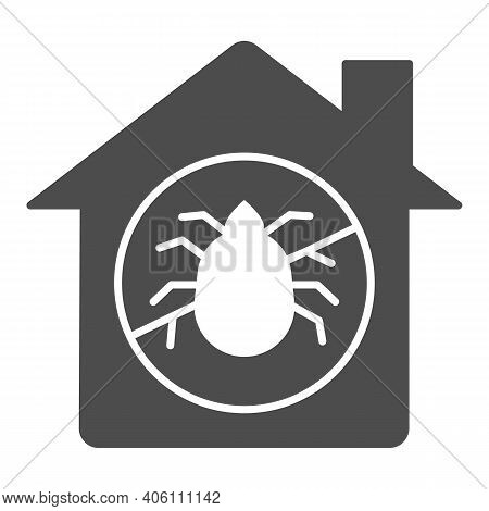 House With Ban On Insects Solid Icon, Pest Control Concept, Ban Mites Sign On White Background, Para