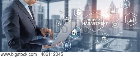 Businessman Pressing Property Management Button On Virtual Screens.
