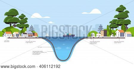 Schematic Cross Section Underwater Subsea Optic Fibre Cable Connection Information Transfer Technolo
