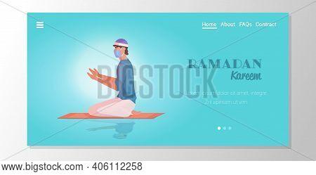 Religious Muslim Man In Mask Praying Ramadan Kareem Holy Month Religion Coronavirus Pandemic Quarant