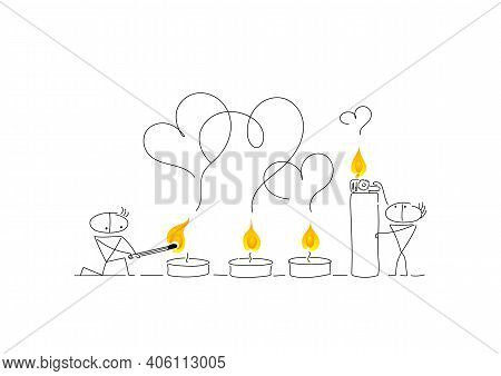 Two Guys Are Getting Ready For Valentines Day. Romantic Candles Are Lit With A Lighter And A Match.
