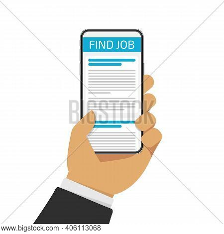 Job Searching Concept. Online Jobs Search. Hand Holding Smartphone With Vacancies On Screen. Vector