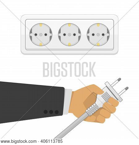 Electric Power Plug Holding In Hand Illustration In Flat Style. Man Holding Electric Power Plug. Unp