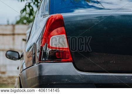 Car Headlight. Taillight Of The Modern And Elegant Car, Automotive Part Concept.