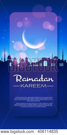 Ramadan Kareem Holy Month Religion Nabawi Mosque Building Architecture Night Muslim Cityscape Vertic