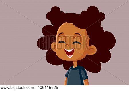 Cute Happy African Girl Laughing Vector Cartoon