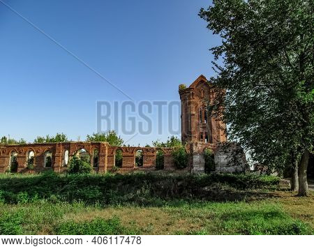 Ruins Of The Former City Baths In Putivl (sumy Region, Ukraine). Remains Of An Old Red Brick Buildin