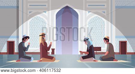 Religious Muslim Men In Masks Praying Ramadan Kareem Holy Month Religion Coronavirus Pandemic Quaran