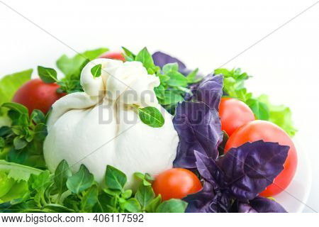 Burrata cheese with salad and cherry tomatoes