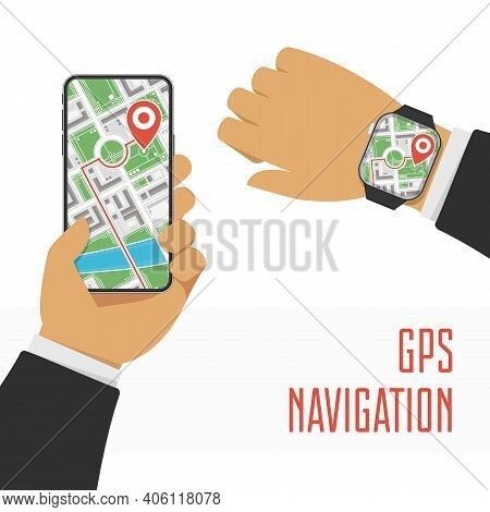 Mobile Navigation Or Maps App Concepts. Smartphone And Smart Watch With Map On Screen And Red Gps Do