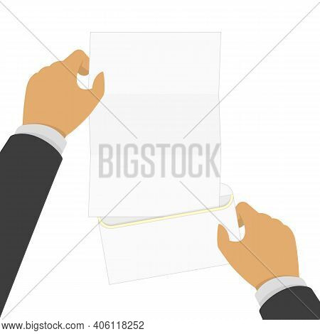Hand Holding Blank Letter From The Open Envelope. Concept Of Notice, Display, Contract Notify, Annou