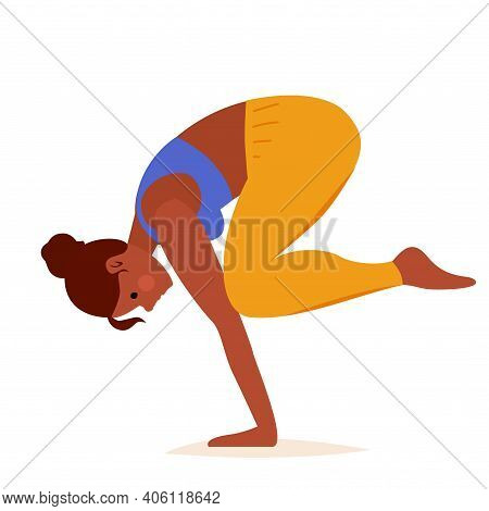 Crow Pose Yoga On White Background. Sport Exercise, Fitness Workout. Vector Illustration Design. Sid