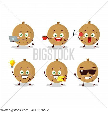 Longan Cartoon Character With Various Types Of Business Emoticons