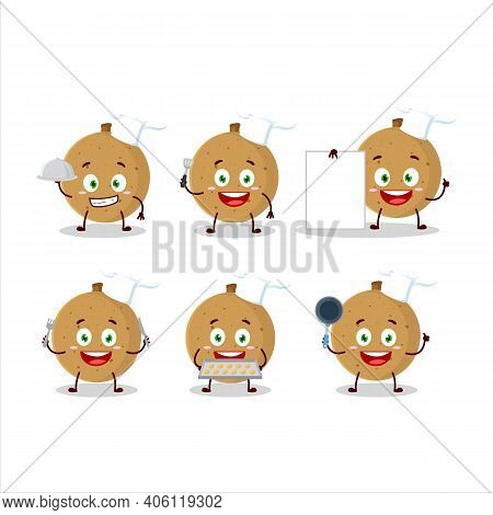 Cartoon Character Of Longan With Various Chef Emoticons