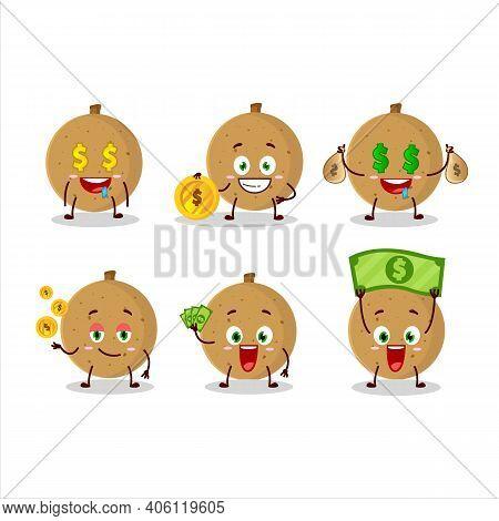 Longan Cartoon Character With Cute Emoticon Bring Money