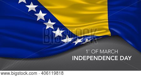 Bosnia And Herzegovina Happy Independence Day Greeting Card, Banner With Template Text Vector Illust
