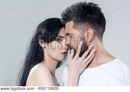 Couple In Tender Passion. Close-up Face Each Other Of Lovely Pair. True Love. Man With Woman In Rela