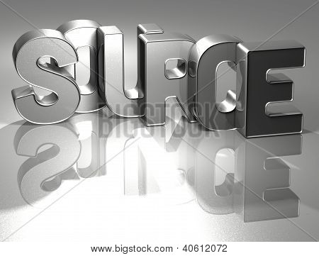 3D Word Source on silver background . poster