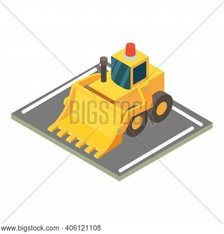Wheeled Bulldozer Icon. Isometric Illustration Of Wheeled Bulldozer Vector Icon For Web