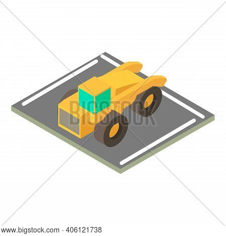 Motor Grader Icon. Isometric Illustration Of Motor Grader Vector Icon For Web
