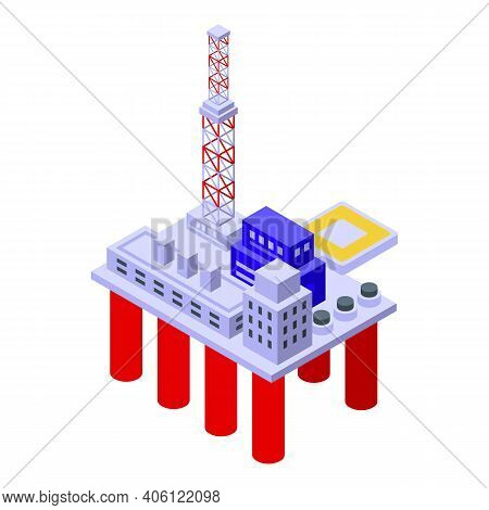 Sea Drilling Rig Industry Icon. Isometric Of Sea Drilling Rig Industry Vector Icon For Web Design Is