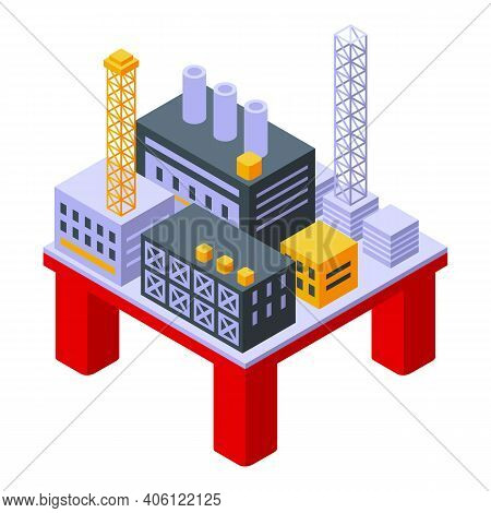 Sea Drilling Rig Oil Icon. Isometric Of Sea Drilling Rig Oil Vector Icon For Web Design Isolated On