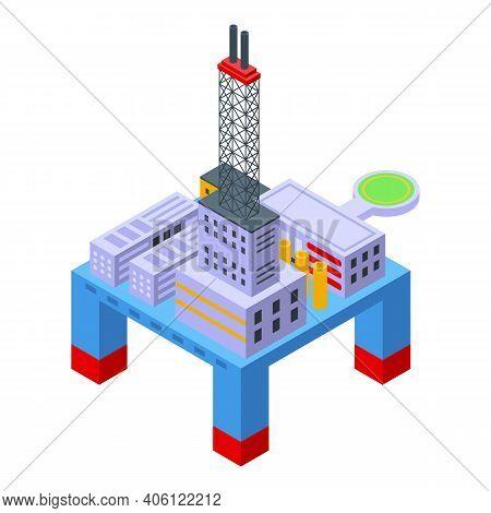 Sea Drilling Rig Energy Icon. Isometric Of Sea Drilling Rig Energy Vector Icon For Web Design Isolat