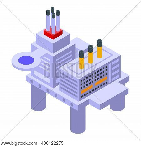 Sea Drilling Rig Gas Icon. Isometric Of Sea Drilling Rig Gas Vector Icon For Web Design Isolated On