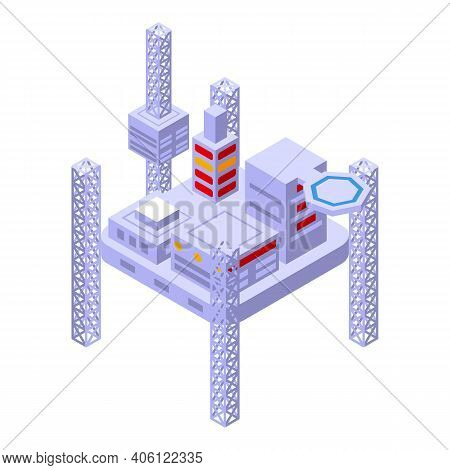 Sea Drilling Rig Refinery Icon. Isometric Of Sea Drilling Rig Refinery Vector Icon For Web Design Is