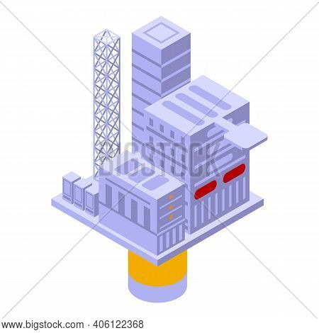 Sea Drilling Rig Dam Icon. Isometric Of Sea Drilling Rig Dam Vector Icon For Web Design Isolated On
