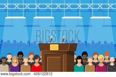 Brown Wooden Rostrum With Microphones For Presentation. Stand, Podium For Conferences, Lectures Or D